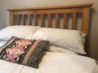 Double wooden bed frame with memory foam matress