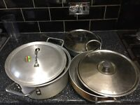 3 Heavy aluminium saucepans with lid