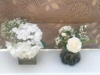 Rose arrangement in glass vase and Hydrangea in glass cube