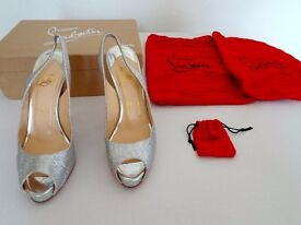 Authentic Christian Louboutin No Prive Glitter Silver Red Sole Slingback Pump heel shoe