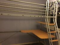High rise metal bed
