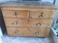 Vintage antique pine chest of drawers dresser