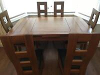 Solid Oak Size Adjustable Dining Table & 6 Chairs