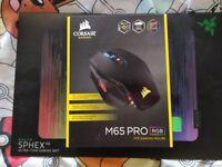 Corsair M65 Pro RGB Optical FPS Gaming Mouse & Razer Sphex V2 Gaming Mouse Mat - both like new!