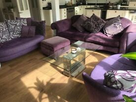 Beautiful feature sofa set (3 + Footstool) DFS, Purple with cushions (rrp £2500)