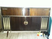 Vintage 1960's Radiogram for sale. Turntable, radio, cupboards and drinks cabinet.