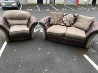 3 Seater Fabric&Leather Sofa and Chair