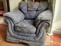 Pair of royal blue velour arm chairs