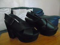 black shoe open toe, size5(38)