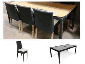 NEW 7 PIECE PE WICKER OUTDOOR DINING TABLE & CHAIRS SET- Charcoal Holsworthy Campbelltown Area Preview