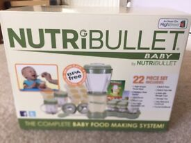 NutriBullet - Baby, never been used. A complete baby food making system.
