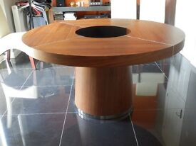 ROUND WALNUT DINING TABLE, LED AND GLASS LAZY SUSAN