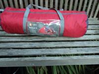 Hi gear Pronton 3 man tent weights 5kg it has a porch with the ground sheet attached to the tent