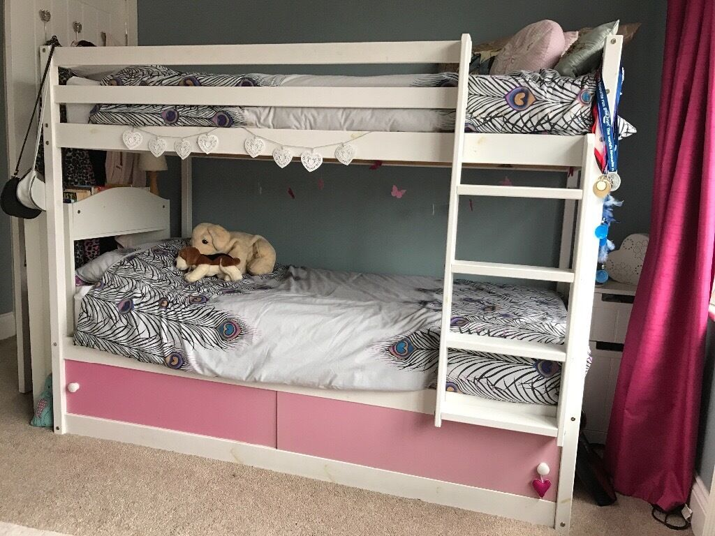 Painted White Wooden Bunk Beds With Under Bed Storage And 2 High
