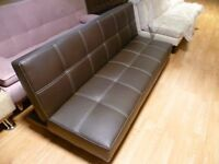 Ex display brown 3 seater sofa bed Smooth (Free local delivery)