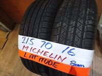 matching pair of 215 70 16 michelin latitudes 7mm tread £50 pair sup & fittd(LOADS MORE AV 7-DAYS)