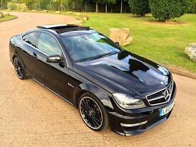 2013/63 BLACK MERCEDES-BENZ C63 AMG AUTO COUPE 12K LOW MILES LADY OWNER TOP SPEC 457 BHP FSH LOOK!