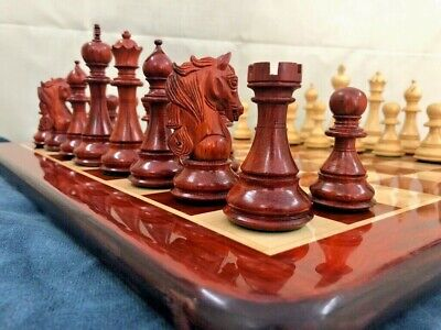 """Bud Rosewood Collector Staunton chess pieces set KING 4.5"""" 4 Queens Spartan"""