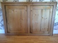 VICTORIAN PINE CUPBOARD DOORS AND FRAME