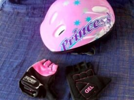 Girls Cycle Helmet and Gloves