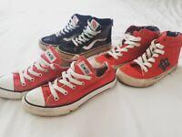 3 pairs boys shoes size Uk 1 & 1.5. Vans, Converse & Next
