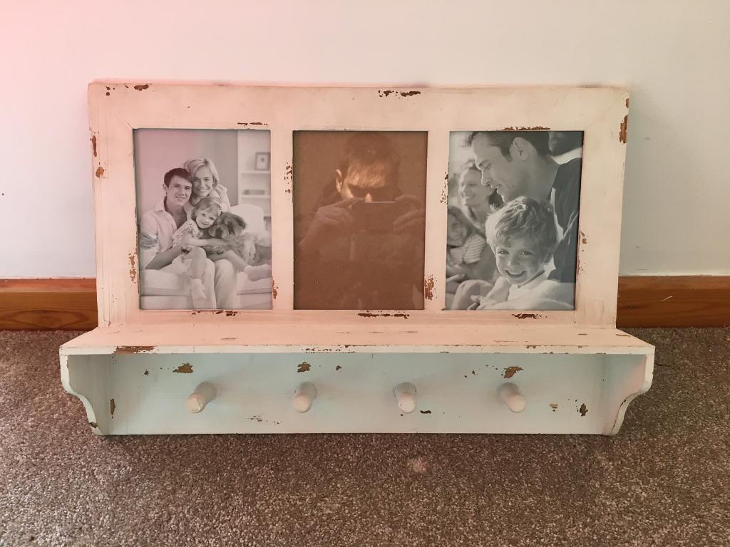 Distressed Shabby Chic Coat Hook With Picture Frame And Shelf In