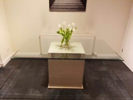Glass and marble dining table set