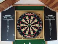 Winmau Blade II dartboard, oche mat and 2 sets of darts