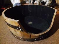 Solid Oak | Recycled Whiskey Barrel | Retro Vintage | Dog Cat Bed | STILL AVAILABLE