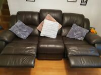 3 and 2 seater leather brown sofa
