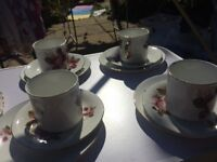 Vintage rose pattern cup, saucer and side plate x4 rose pattern