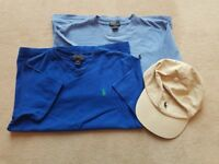 2 Ralph Lauren T shirts and baseball cap