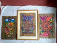 NEW/VINTAGE SET 3 Mexican Folk Art Paintings on Tree Bark 1 Framed + Free Print