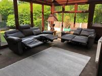 Brand New 3 + 2 Seater Brown Leather Recliner Sofas