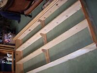 FREE LARGE WOOD SHELVING UNIT / PLATE RACK HOME OR BUSINESS USE PINE WITH HOOKS DISPLAY RACK