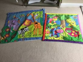 Two colourful baby play mats