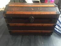 Antique chest steamtrunk cabin lockbox