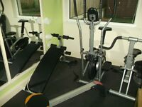 Gym equipment including cross trainer & rowing machine