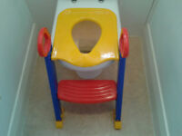 LOZ Baby Child Toddler Potty Training Toilet Seat Step, red blue and yellow. Good as new..