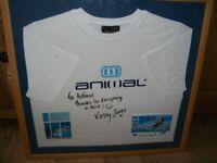 Kirsty Jones British Kite Surf Champion Signed Animal Tee Shirt in frame with glass