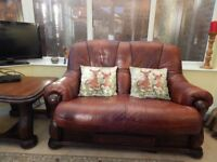 Leather 3 seater , 2seater , Coffee Table & Lamp Table All matching Excelent Condition
