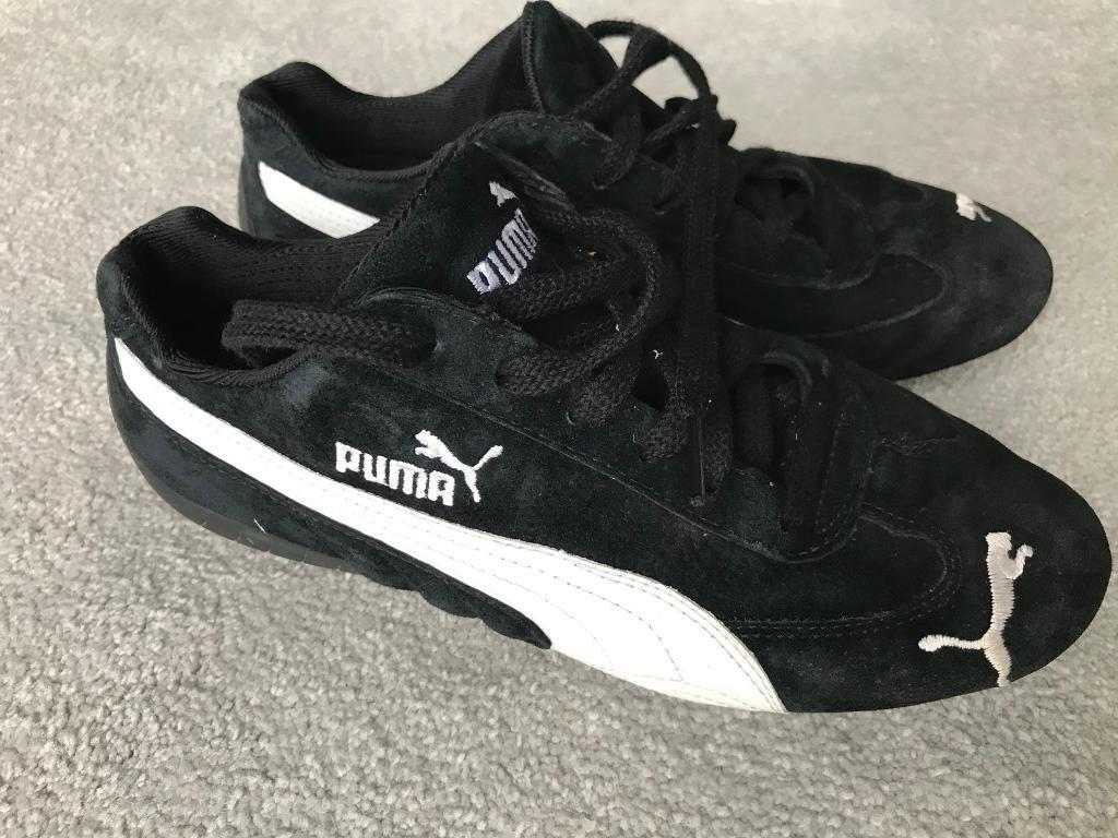 PUMA Speed Cat Black Suede Ladies Trainers Size 6 White Logo's Good Condition