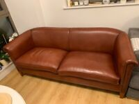 3 seater sofa, 3 armchairs Set Real Leather English Traditional Style Vintage, Coffee Table