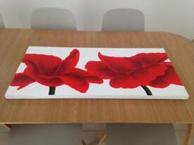 Large red poppy canvas