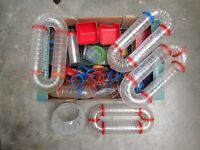 Hamster cage equipment - tubes, small houses, cage bases/levels, water bottle, etc