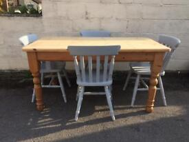 Solid chunky pine table and chairs