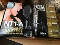 Rode Microphones RØDE NT1-A Vocal Pack, comes with shock arm and cables.