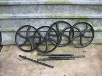 SHEPHERDS HUT PARTS, ROOF TINS NEW £25 EACH,UP TO 10. CAST IRON WHEELS, £145 PER SET WITH AXLES