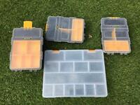 4 x hobby boxes for fishing / beads / jewellery etc