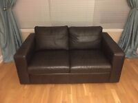 Dark Brown NEXT Leather Sofa Settee Couch in Good Condition £50 ono